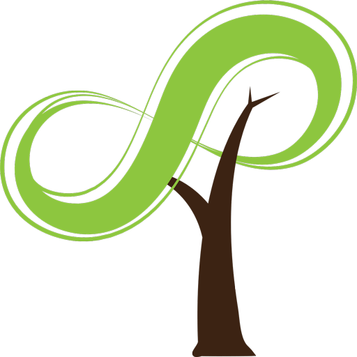 A tree, with an infinity symbol figure eight on it's side in green for the top leafy part. This is the Logo for Infinity Tree Services LLC Des Moines WA